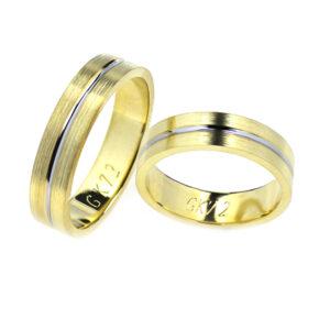 Obrączki ślubne z dwukolorowego złota o szerokości 5 mm